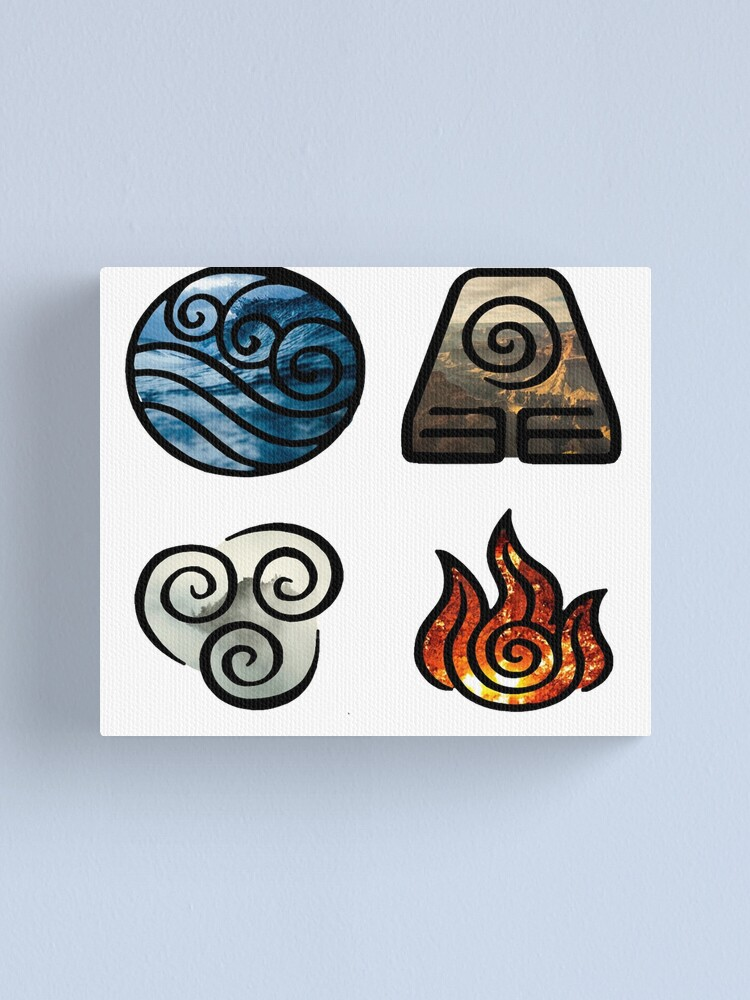 Avatar The Last Airbender Element Symbols Canvas Print By Losthermarbles Redbubble