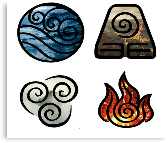 Avatar The Last Airbender Element Symbols Canvas Prints By