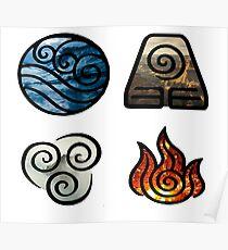 Avatar the Last Airbender Element Symbols Poster