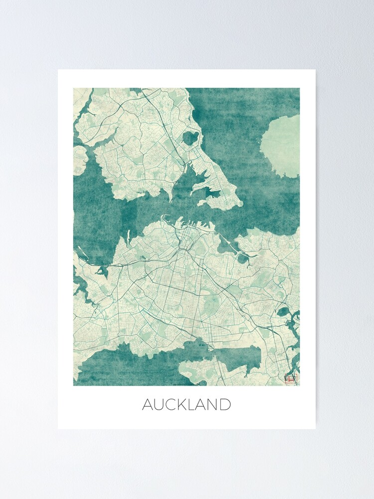 Alternate view of Auckland Map Blue Vintage Poster