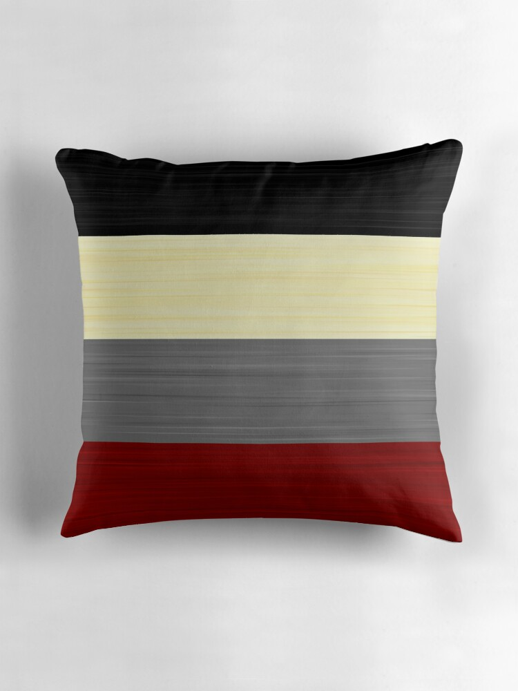Brush Stroke Stripes Black Cream Grey and Red Throw Pillows