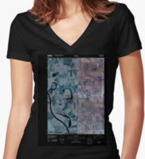 USGS TOPO Map Iowa IA Salix 20100427 TM Inverted Women's Fitted V-Neck T-Shirt