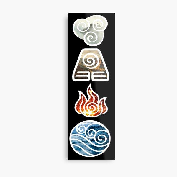 Avatar the Last Airbender Element Symbols Metal Print