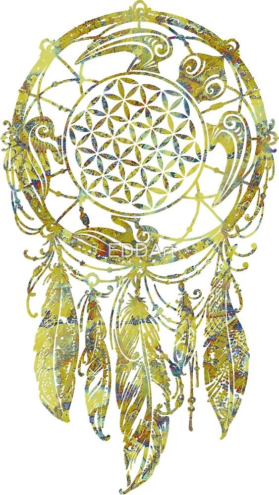 Dreamcatcher Flower Of Life Green Fractal Turtle by EDDArt