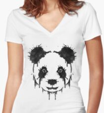 Panda Ink Women's Fitted V-Neck T-Shirt