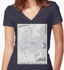 Christchurch Map Line Women's Fitted V-Neck T-Shirt