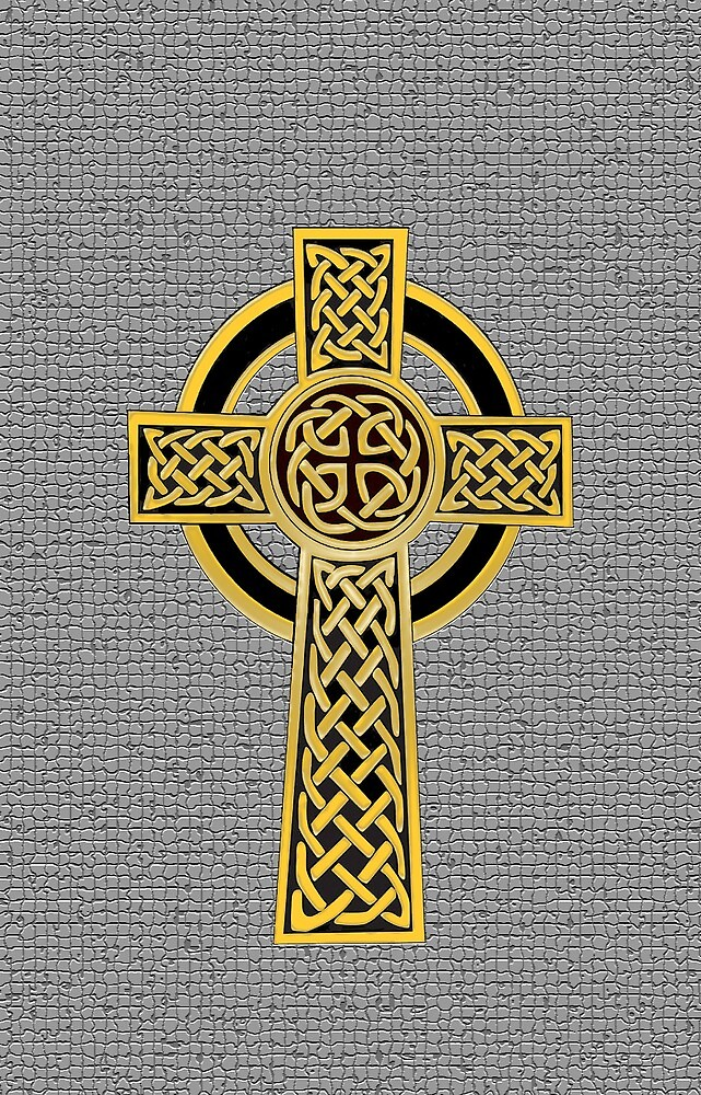 Celtic Cross, gold and grey by Olicanian