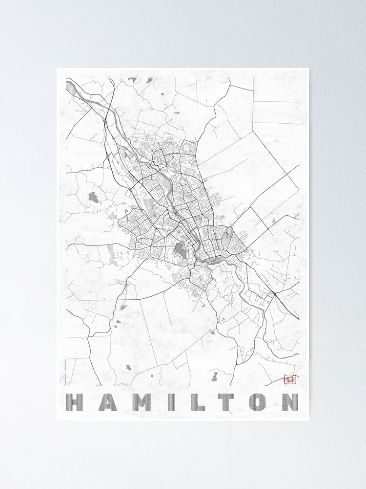 Alternate view of Hamilton Map Line Poster