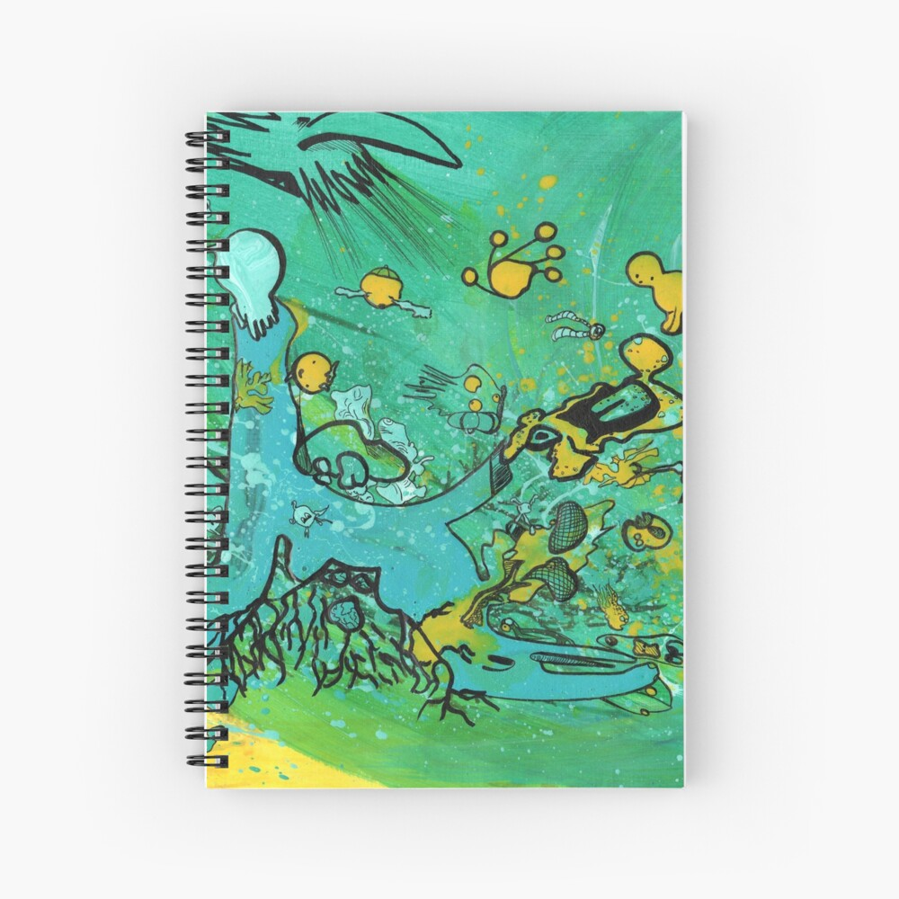 Line monster drawing colorful Spiral Notebook