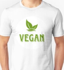 VEGAN, circle sticker, green, white bg Unisex T-Shirt
