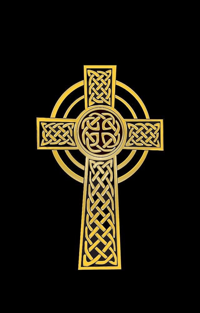 Celtic Cross, gold and black by Olicanian