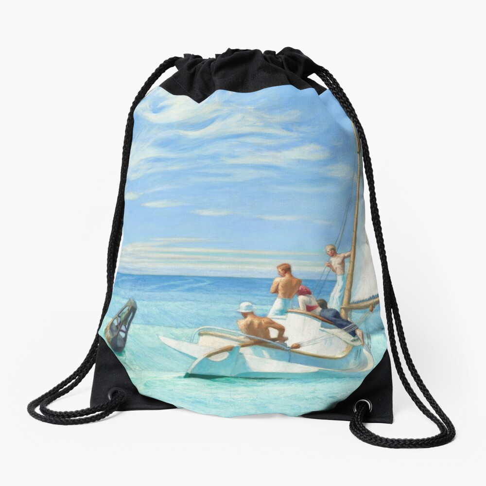 Ground Swell Oil Painting by Edward Hopper Drawstring Bag