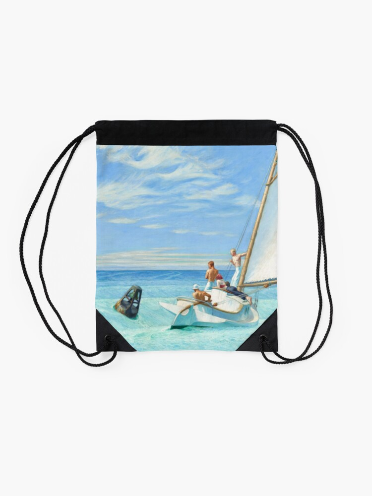 Alternate view of Ground Swell Oil Painting by Edward Hopper Drawstring Bag