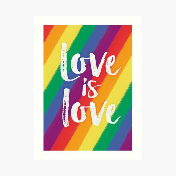 El amor es amor - orgullo de la bandera del arco iris Lámina artística