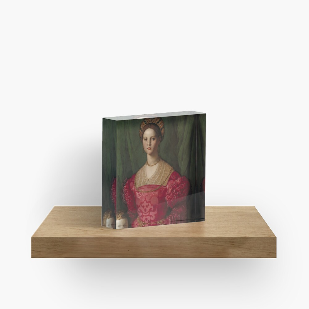 A Young Woman and Her Little Boy Oil Painting by Agnolo Bronzino Acrylic Block