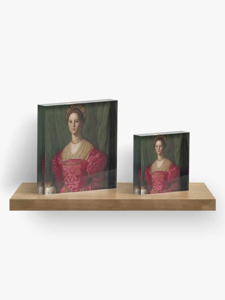 Alternate view of   A Young Woman and Her Little Boy Oil Painting by Agnolo Bronzino Acrylic Block