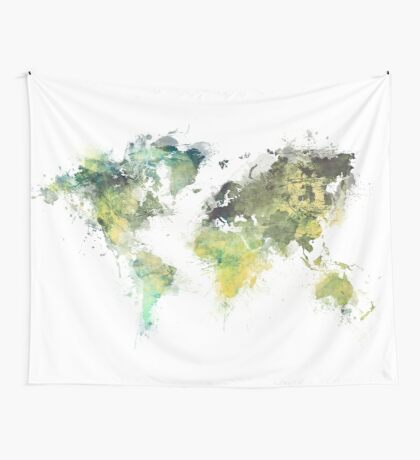 world map 88 art green Wall Tapestry