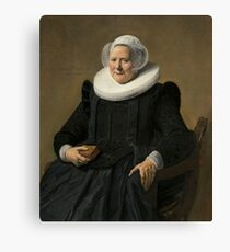 Portrait of an Elderly Oil Painting Lady by Frans Hals Canvas Print