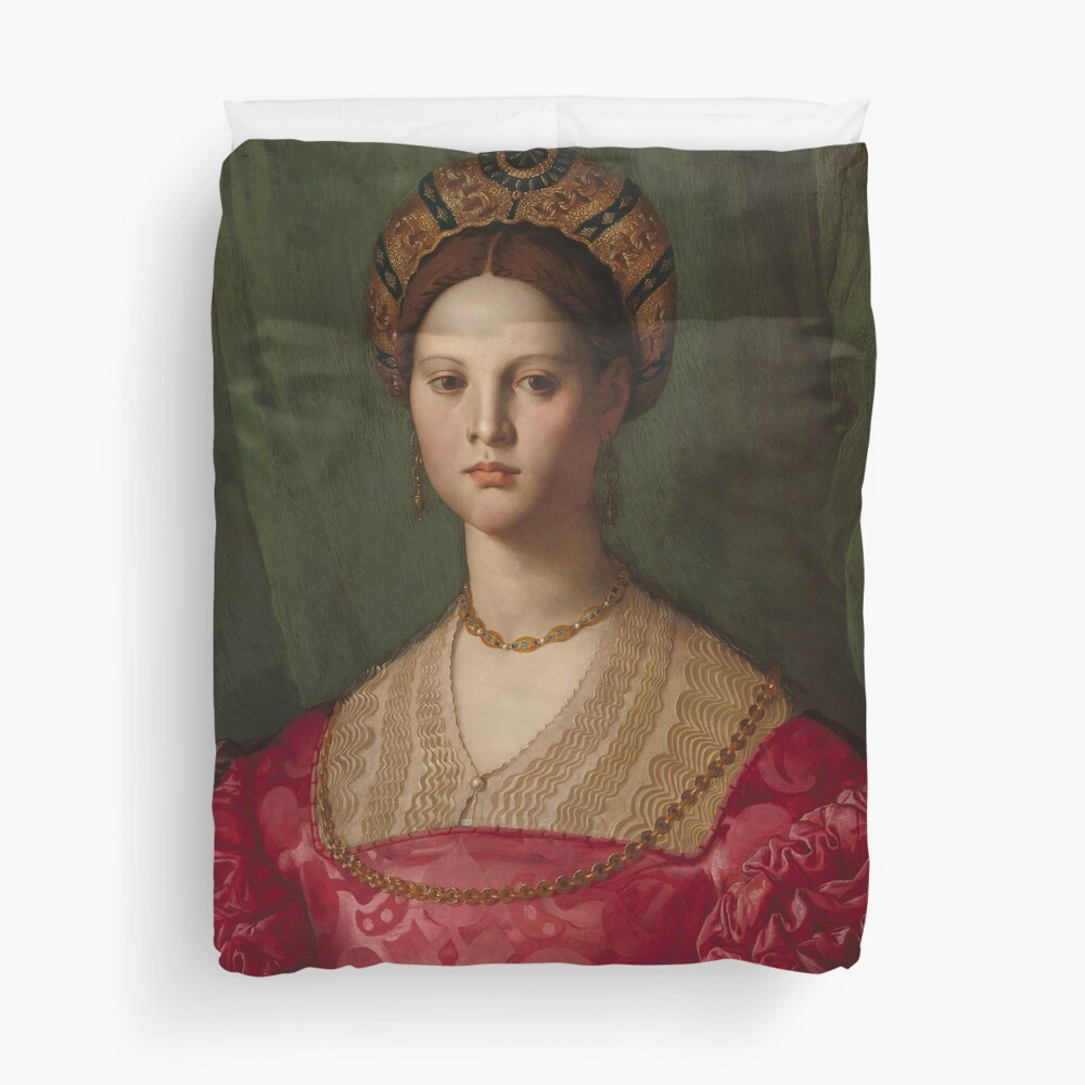 A Young Woman and Her Little Boy Oil Painting by Agnolo Bronzino Duvet Cover