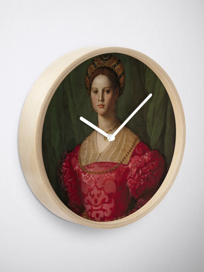 Alternate view of   A Young Woman and Her Little Boy Oil Painting by Agnolo Bronzino Clock