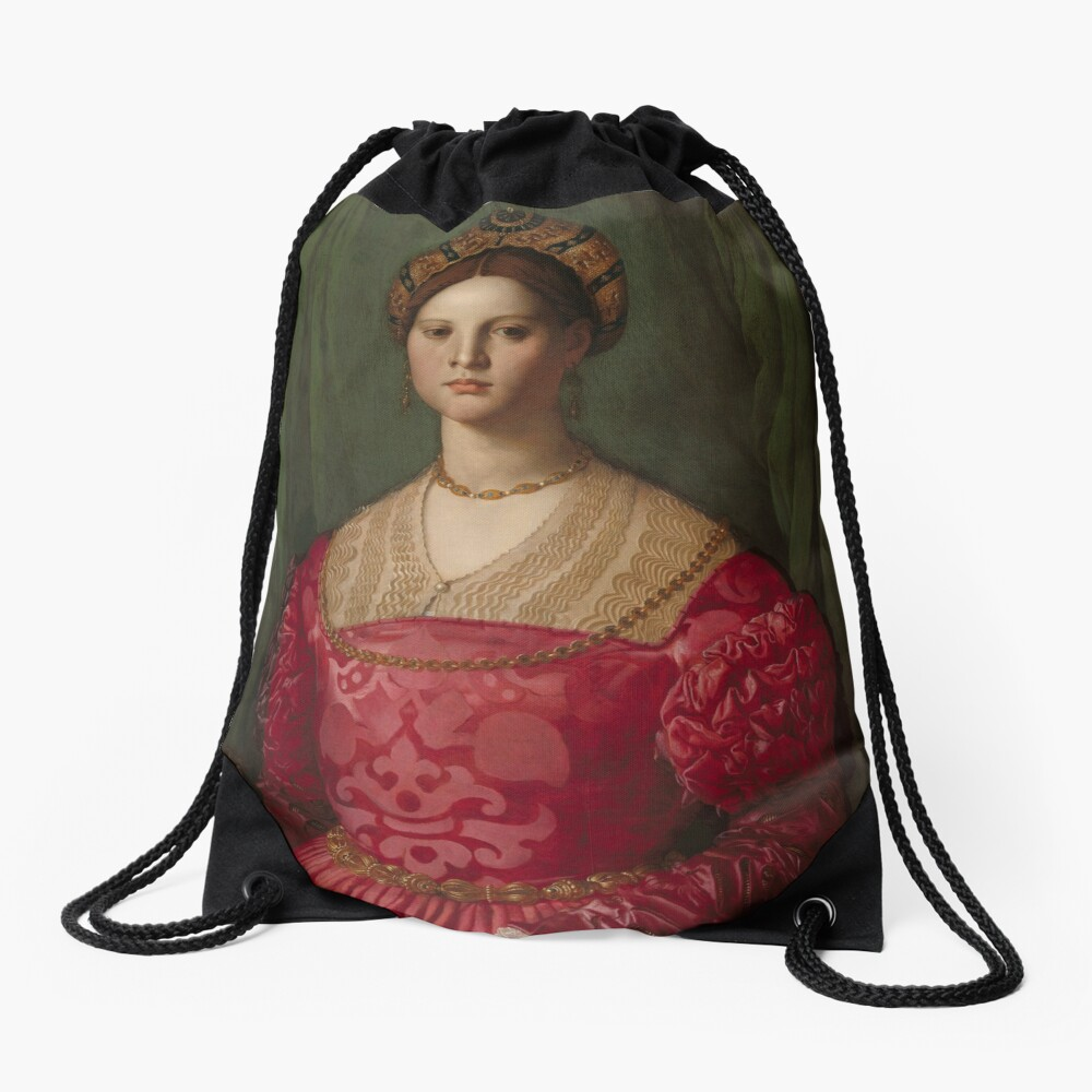 A Young Woman and Her Little Boy Oil Painting by Agnolo Bronzino Drawstring Bag