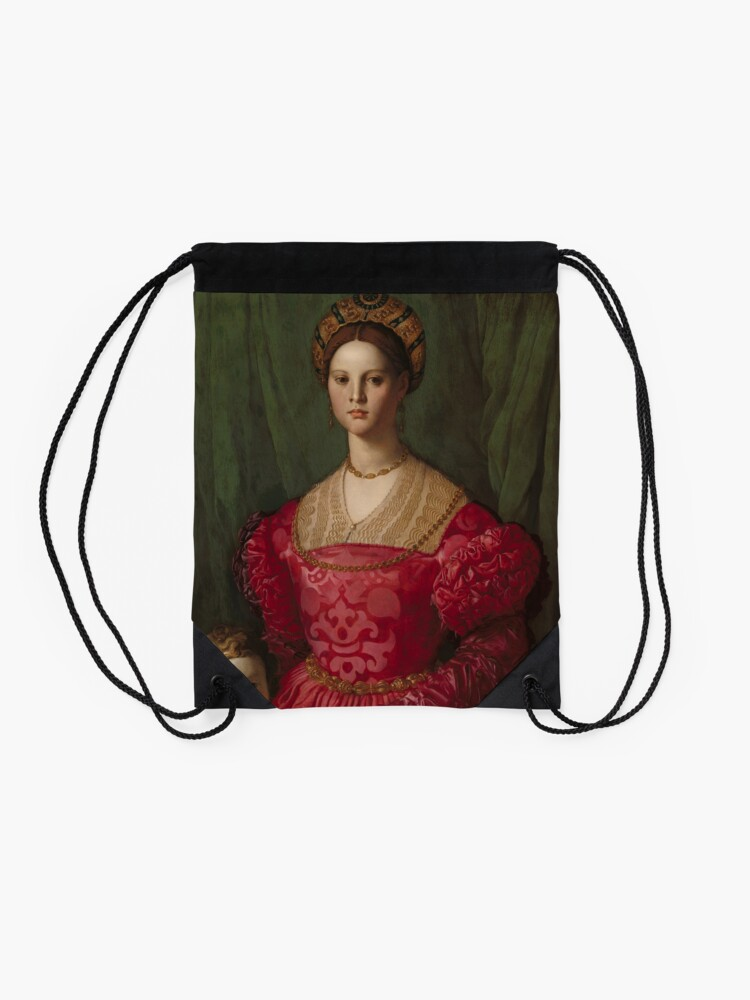 Alternate view of   A Young Woman and Her Little Boy Oil Painting by Agnolo Bronzino Drawstring Bag
