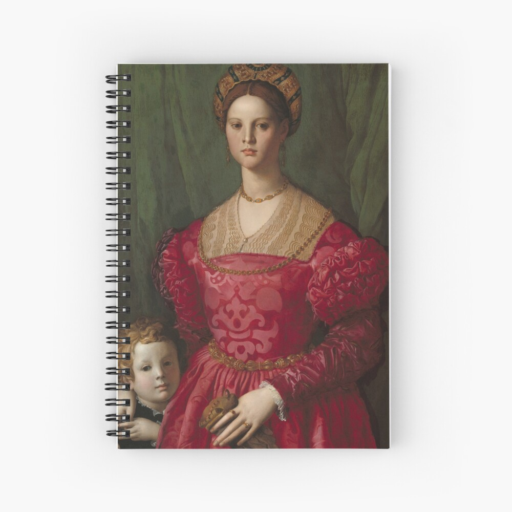 A Young Woman and Her Little Boy Oil Painting by Agnolo Bronzino Spiral Notebook
