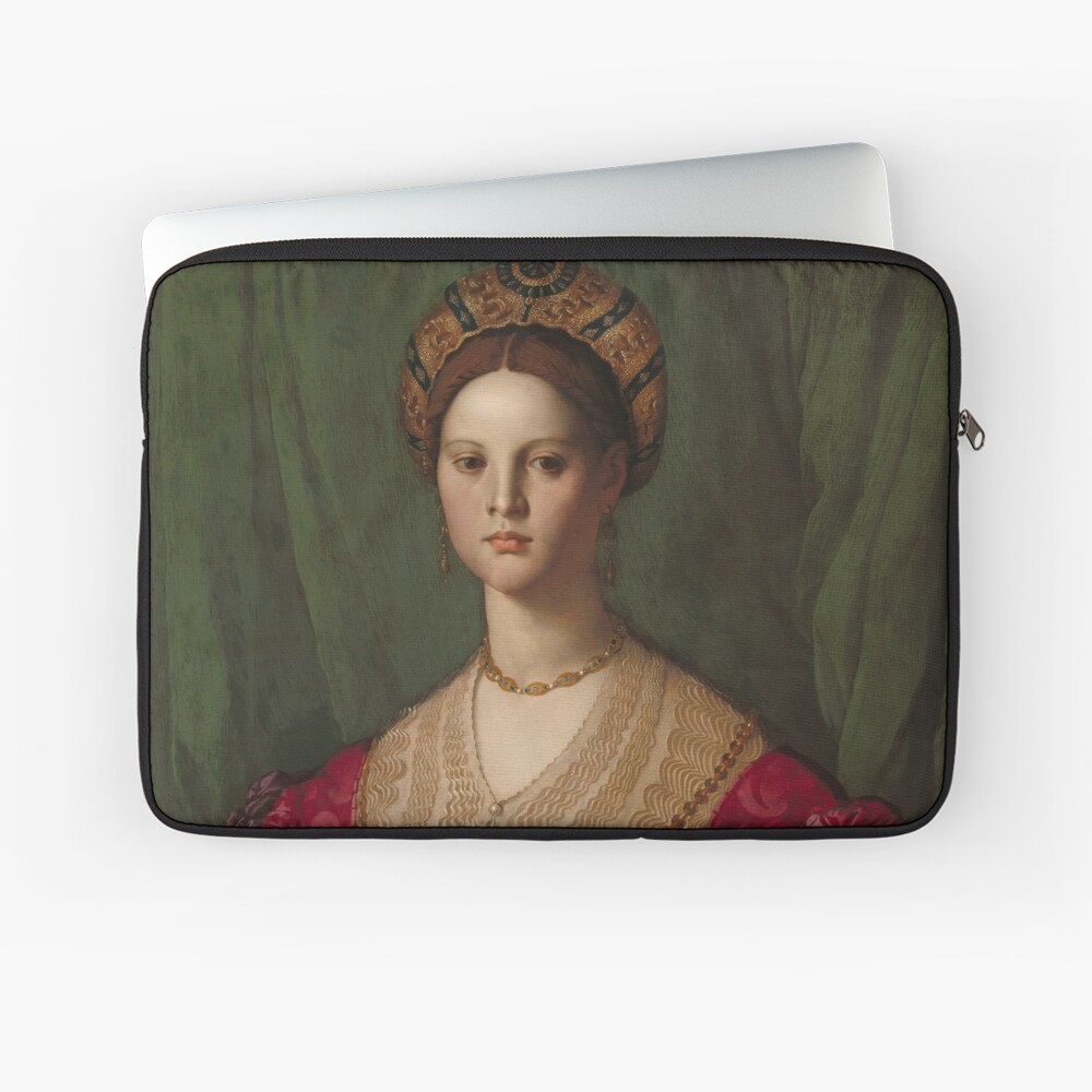 A Young Woman and Her Little Boy Oil Painting by Agnolo Bronzino Laptop Sleeve