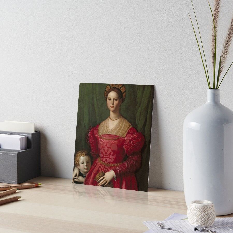 A Young Woman and Her Little Boy Oil Painting by Agnolo Bronzino Art Board Print