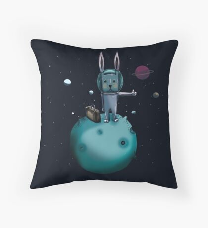 hitchhiking bunny Throw Pillow