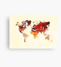 world map 89 art red Canvas Print
