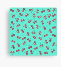 Red Cute Cherry Illustration Pattern Bright Teal Canvas Print
