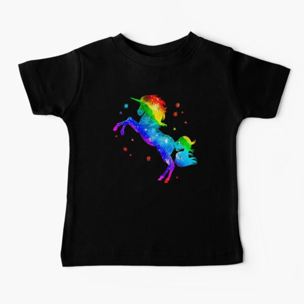 Rainbow Unicorn, stars, galaxy style, space Baby T-Shirt