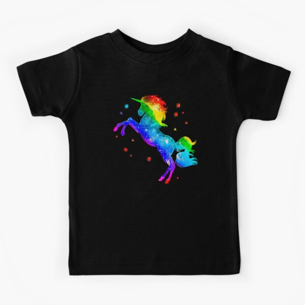 Rainbow Unicorn, stars, galaxy style, space Kids T-Shirt