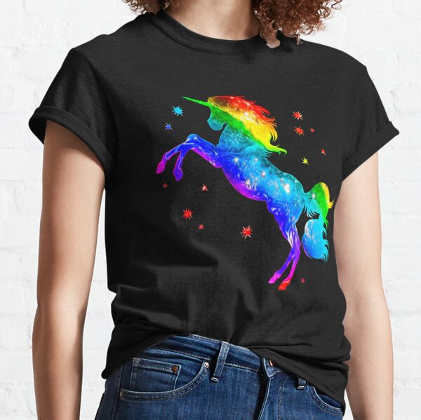 Rainbow Unicorn, stars, galaxy style, space Classic T-Shirt