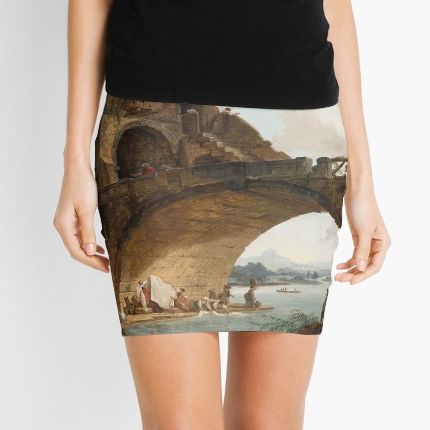 The Ponte Salario Oil painting by Hubert Robert Mini Skirt