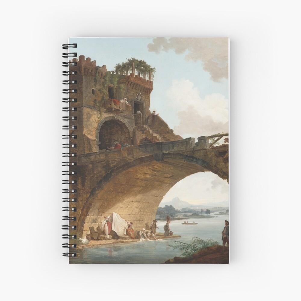 The Ponte Salario Oil painting by Hubert Robert Spiral Notebook