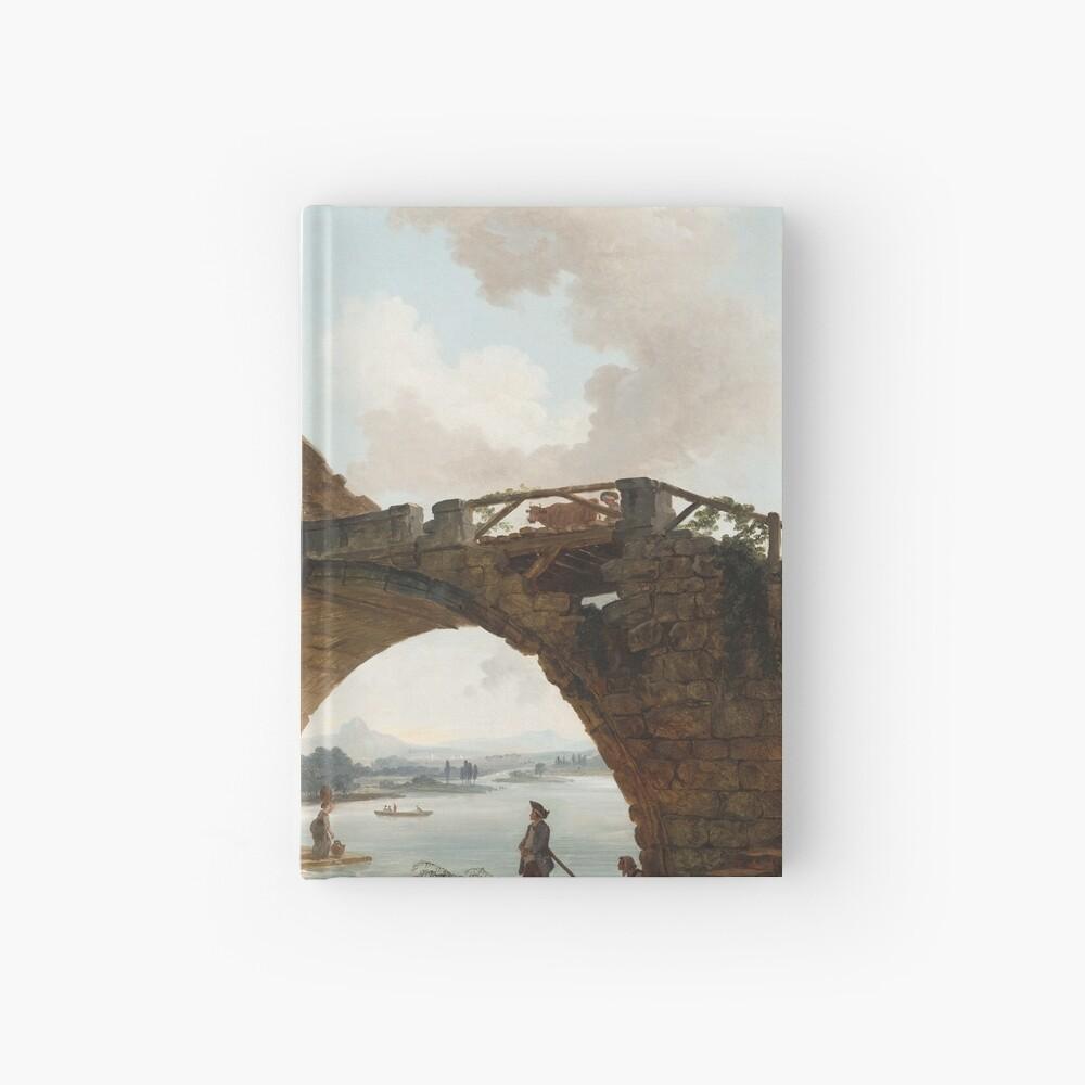 The Ponte Salario Oil painting by Hubert Robert Hardcover Journal