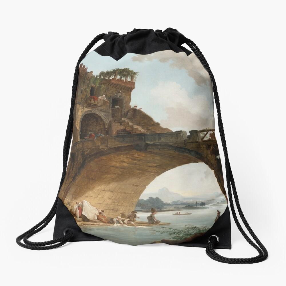 The Ponte Salario Oil painting by Hubert Robert Drawstring Bag