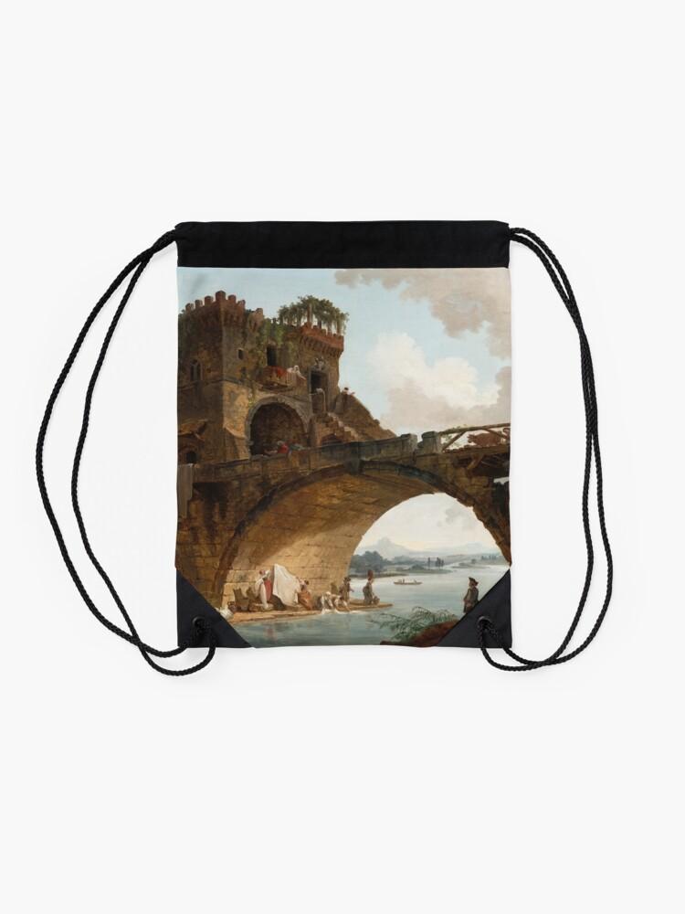 Alternate view of  The Ponte Salario Oil painting by Hubert Robert Drawstring Bag