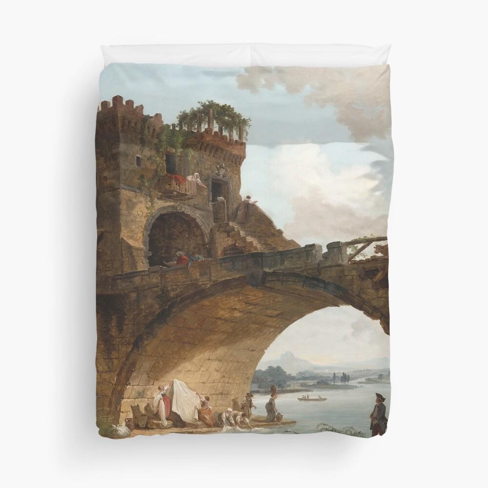 The Ponte Salario Oil painting by Hubert Robert Duvet Cover