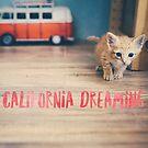 Ginger Kitten California Dreaming Watercolor Word Art Wall Art by Monica Michelle