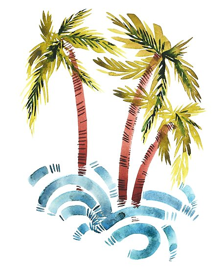 palm trees and waves posters by yourworldusa redbubble