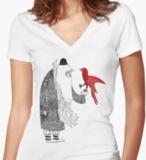 Darwin and red bird Women's Fitted V-Neck T-Shirt