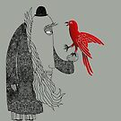 Darwin and red bird by SusanSanford