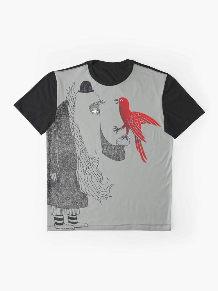 Alternative Ansicht von Darwin und roter Vogel Grafik T-Shirt