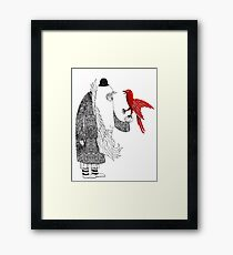 Darwin and red bird Framed Print
