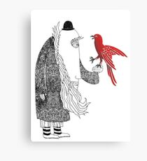 Darwin and red bird Metal Print