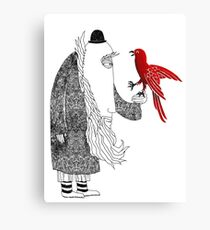 Darwin and red bird Canvas Print