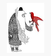 Darwin and red bird Photographic Print
